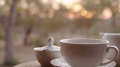 Morning Tea being Poured - Slow Motion - Dolly Shot Stock Footage