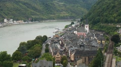 Rhine valley town, high view, Germany - stock footage