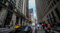 Fast forward of the buildings and pedestrians at Broadway street, New York City Stock Footage
