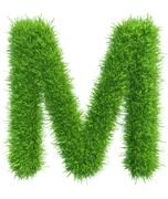 Vector capital letter M from grass on white background Stock Illustration