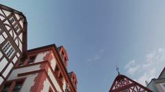 Tilt down beautiful traditional German house facades, Bernkastel-Kues Stock Footage