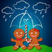Stock Illustration of loving couple of gingerbread cookies and sugar cane