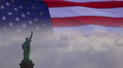 A highly patriotic image of the U.S. flag and Statue of Liberty superimposed. Stock Footage