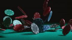 Poker chips falling in slow motion; shot on Phantom Flex 4K at 1000 fps Stock Footage