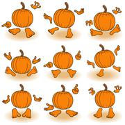 Gesticulating funny pumpkins view from the back - stock illustration