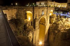 Puente Nuevo from town, Ronda - stock photo