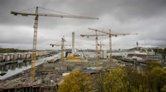 Construction site in Stockholm, Sweden Stock Footage