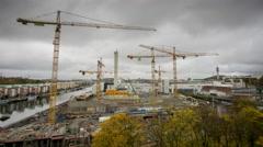 Construction site in Stockholm, Sweden Arkistovideo