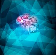 Human brain treatment abstract light blue background Stock Illustration