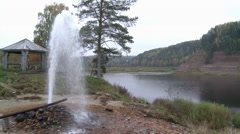 Geyser.natural fountain.water beating on the rocks.river.mountains. Stock Footage