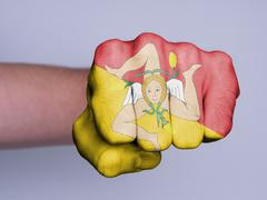 Fist of a man punching Stock Illustration