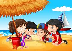 Children having fun on the beach - stock illustration