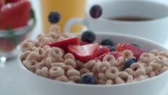 Berries dropping into cereal in slow motion; shot on Phantom Flex 4K at 1000 fps Stock Footage