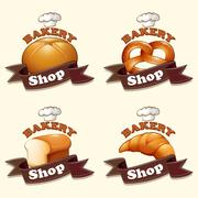 Different kind of bread and signs - stock illustration