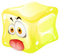 Yellow cube with silly face - stock illustration