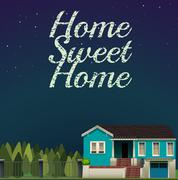 Home sweet home at night time Stock Illustration