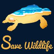 Save wildlife poster with sea turtle - stock illustration