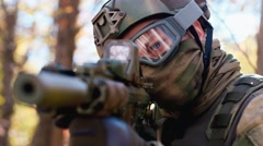 Airsoft player Stock Footage