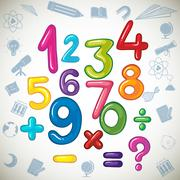 Numbers and math signs Stock Illustration