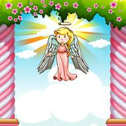 Border design with angel flying Stock Illustration