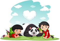 Asian boy and girl sitting with panda - stock illustration