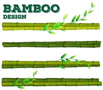 Different bamboo design with stem and leaves - stock illustration