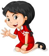 Asian girl waving a hand Stock Illustration