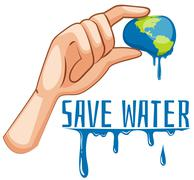 Save water sign with earth being squeezed Stock Illustration