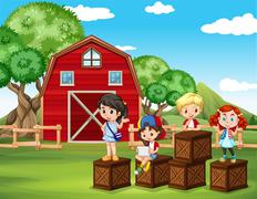 Children having fun in the barn Stock Illustration