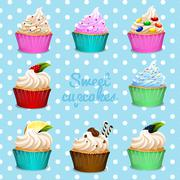 Banner design with different flavor cupcakes Stock Illustration