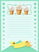 Line paper design with soft ice-cream - stock illustration