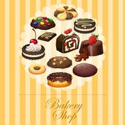 Banner design with different kind of bakery - stock illustration