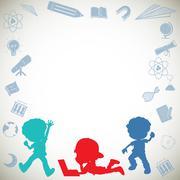 Border design with silhouette children - stock illustration