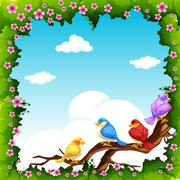 Birds on the branch at daytime - stock illustration