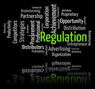 Regulation Word Indicates Guidelines Rule And Regulate - stock illustration