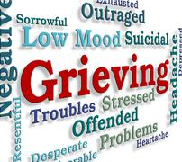 Grieving Word Represents Broken Hearted And Angst - stock illustration