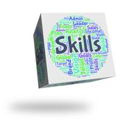Skills Word Shows Skilled Words And Expertise Stock Illustration