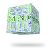 Partnership Word Indicates Team Work And Cooperation Stock Illustration
