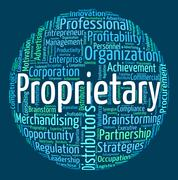 Stock Illustration of Proprietary Word Represents Right Wordcloud And Owner