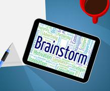 Brainstorm Word Shows Put Heads Together And Analyze Stock Illustration