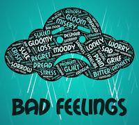 Bad Feelings Shows Ill Will And Adoration - stock illustration