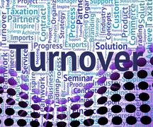Turnover Word Shows Gross Sales And Business Stock Illustration