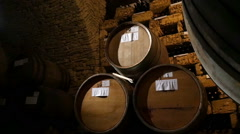 Rack Of Barrels Of Alcohol Stock Footage