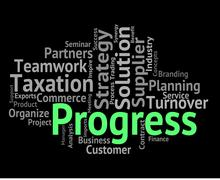 Progress Word Means Words Advancement And Forward Stock Illustration