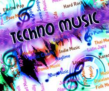 Stock Illustration of Techno Music Indicates Sound Track And Acoustic
