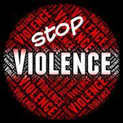Stop Violence Shows Brute Force And Brutishness - stock illustration
