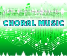 Choral Music Indicates Sound Tracks And Choir - stock illustration