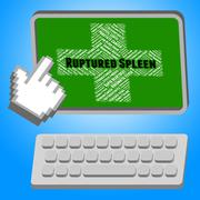 Stock Illustration of Ruptured Spleen Means Splenic Injury And Affliction