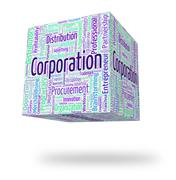 Corporation Word Indicates Corporate Text And Wordcloud - stock illustration