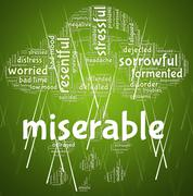 Miserable Word Indicates Grief Stricken And Desolate Stock Illustration